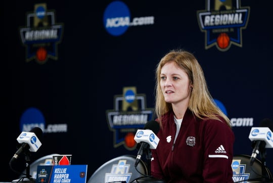 Missouri State Lady Bears head coach Kellie Harper takes questions during a press conference before a practice session at Wintrust Arena on Friday, March 29, 2019. The Lady Bears are playing Stanford in the NCAA Women's Tournament on Saturday.