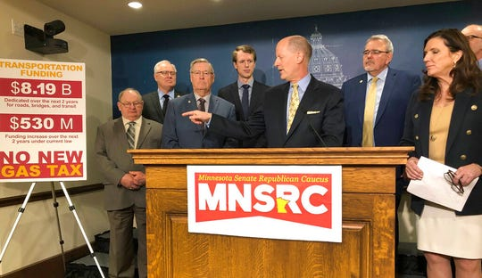 Minnesota Senate Majority Leader Paul Gazelka discusses the Senate GOP budget proposal at a news conference at the state Capitol on Thursday, March 28.