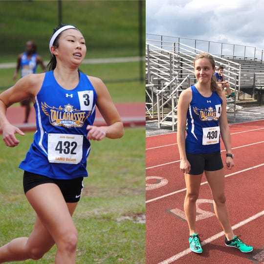 TCC long-distance runners Mia Wiederkehr (left) and Genevieve Printiss will race this weekend at the NJCAA Outdoor Track & Field Championships in Hobbs, New Mexico.