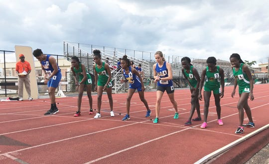 Genevieve Printiss (4) lines up to race in the 1500 at the FAMU Relays on Friday, March 15, 2019.