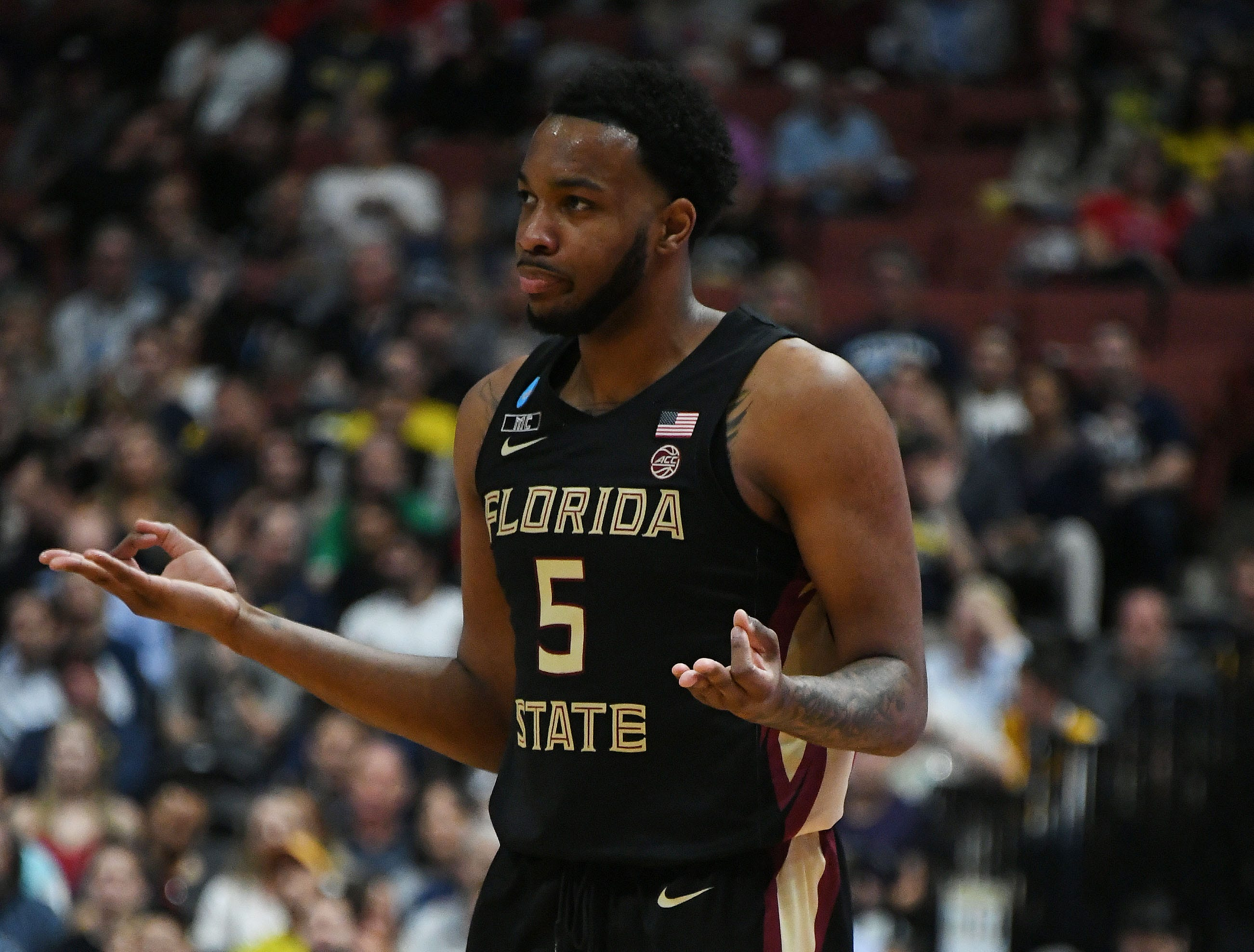 March 28, 2019; Anaheim, CA, USA; Florida State Seminoles guard PJ Savoy (5) reacts against Gonzaga Bulldogs during the first half in the semifinals of the west regional of the 2019 NCAA Tournament at Honda Center. Mandatory Credit: Richard Mackson-USA TODAY Sports