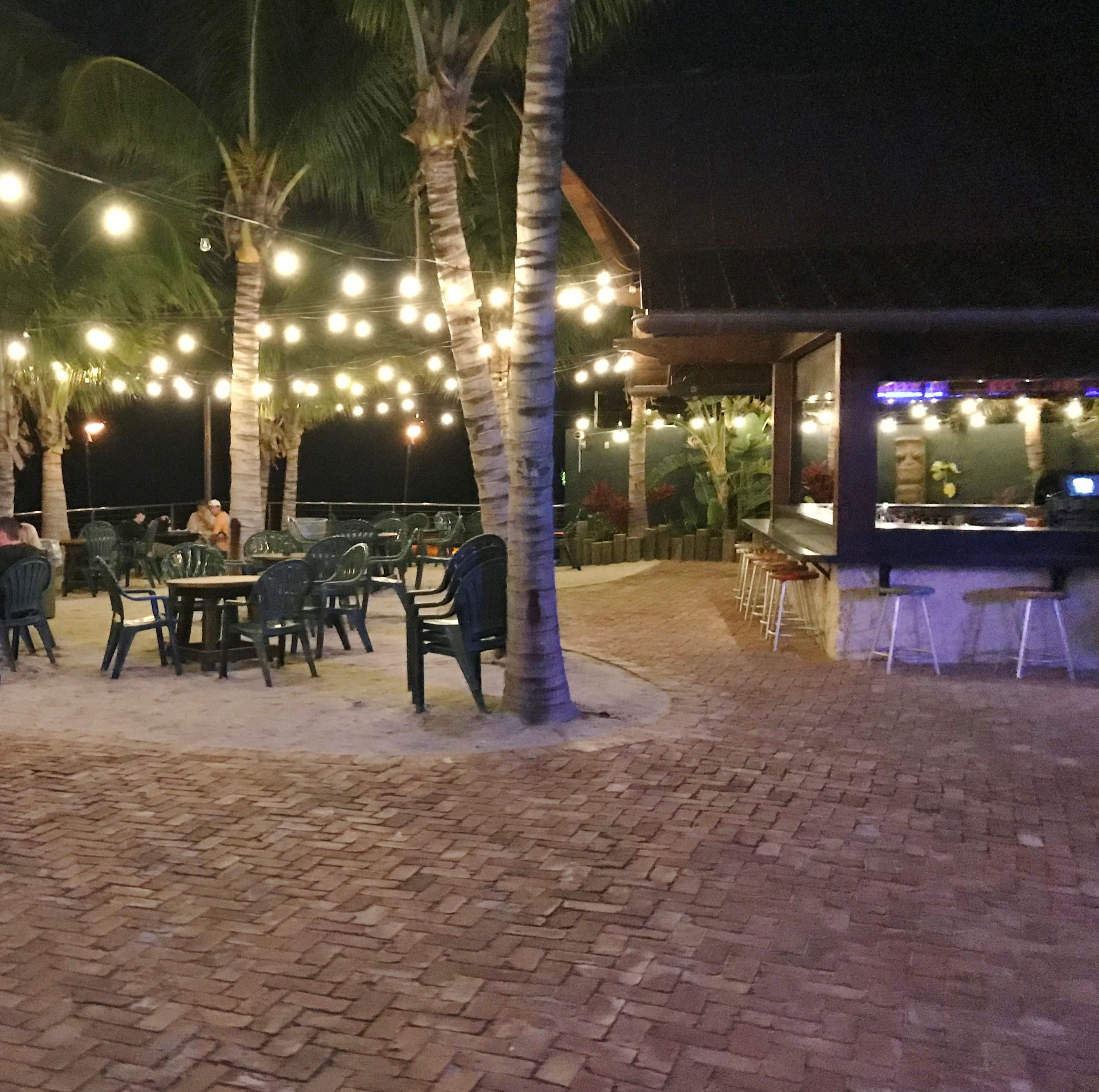 The Square Grouper Tiki Bar offers casual fare in an outdoor setting