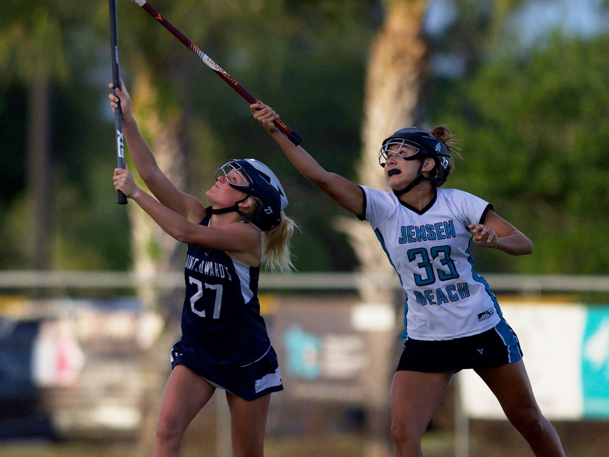 Jensen Beach plays against St. Edward's at the high school girls lacrosse game Thursday, March 28, 2019, at Jensen Beach High School.