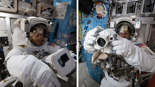 Astronauts Nick Hague and Christina Koch prepare for their March 29, 2019, spacewalk.