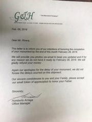 The letter from G & H Granite promising to complete a grave stone by Feb. 28. The business never delivered or refunded the money to the grieving family.