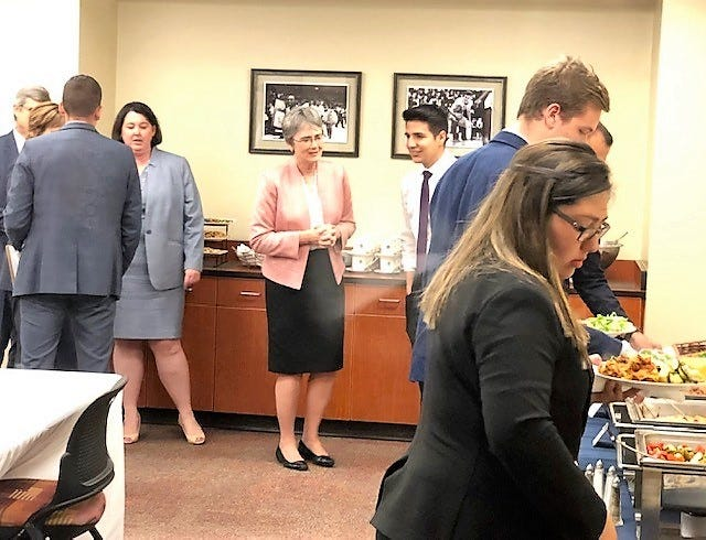 UTEP president finalist Heather Wilson attends a private luncheon with leaders of student groups March 28 during her daylong marathon of meetings.