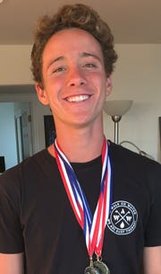 Ventura High freshman Max Eulenhoffer won the 50 freestyle at the county swimming championships last week and is part of crop of young and talented area swimmers.