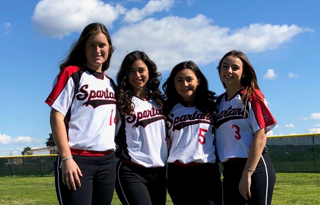 Rio Mesa High seniors Kortney Kemper, left to right, Alyssa Madrid, Madasyn Samora and Sarah Hart are four reasons why the Spartans are 12-0 so far this season.