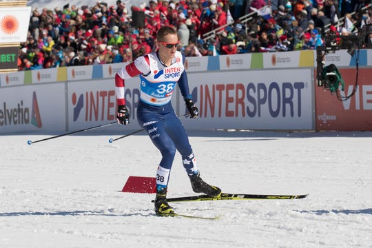 Adam Martin competes in the skating portion of the World Championship skiathlon in Seefeld, Austria