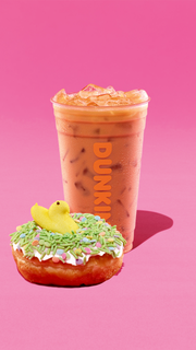 Dunkin coffee and a Peeps doughnut.