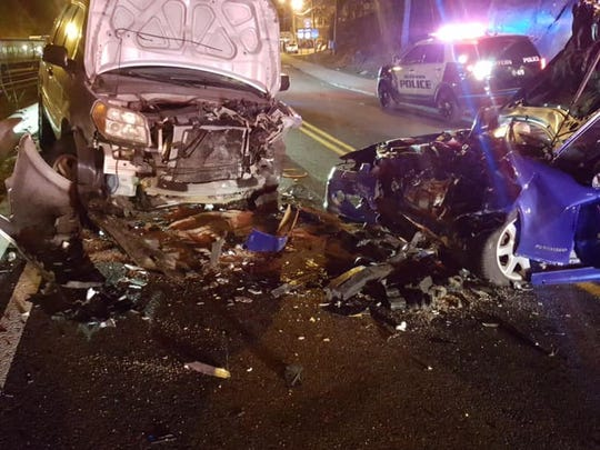 Two drivers were injured in a head-on crash on Orange Avenue in Suffern on March 28, 2019.