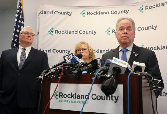 County Executive Ed Day, right, with Commissioner of Health Dr. Patricia Schnabel Ruppert and County Attorney Thomas Humbach give an update regarding the effects of the State of Emergency Declaration in New City on Friday, March 29, 2019.