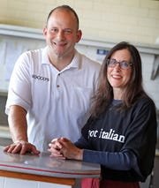 Lohud food reporter Jeanne Muchnick, right, with Vinny Rosano, the owner of Rocco's Family Restaurant in New City.