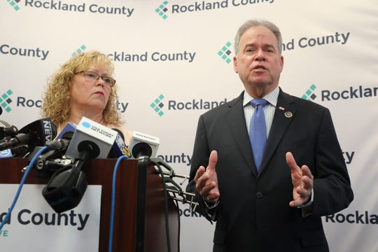 County Executive Ed Day, right, and Commissioner of Health Dr. Patricia Schnabel Ruppert give an update regarding the effects of the State of Emergency Declaration in New City on Friday, March 29, 2019.