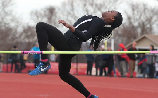 New Rochelle's Chiamaka Odenigbo on her way to winning the girls high jump during the Somers Tusker Twilight Relays at Somers High School  March 28, 2019.