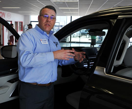 Patterson Kia sales manager, Chris Cunningham talks about the new Kia Telluride, Friday afternoon. Cunningham said Patterson Kia will be hosting a Ride and Drive event for unveiling the new 2020 Kia Telluride Saturday, March 29, from 9 A.M. to 11 A.M at their dealership located at 2910 Old Jacksboro Hwy.