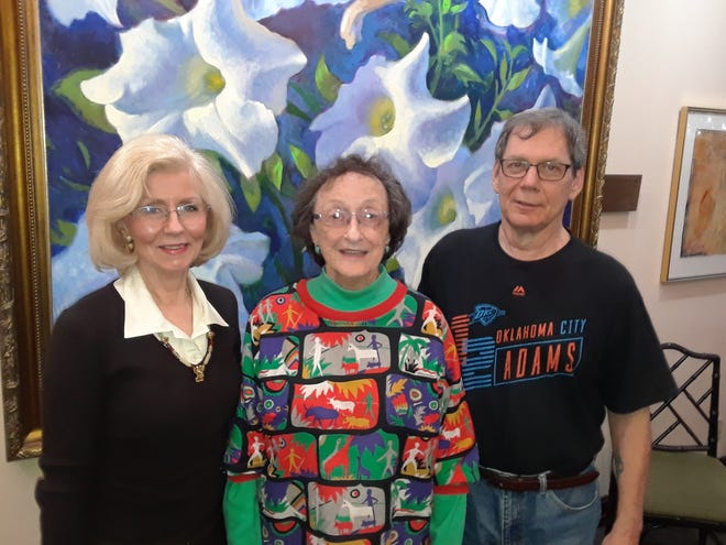 Winners for the Wichita Falls Poetry Society March monthly contest (left to right): Lynn Hoggard (third place), Roberta Sund (first place), and Daryl Halencak (second place).