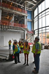 Bob Aniol, project executive for Trinity Hughes Construction, gives a tour Friday of the Gunn College of Health Sciences at Midwestern State University. The project is on schedule for Fall classes.
