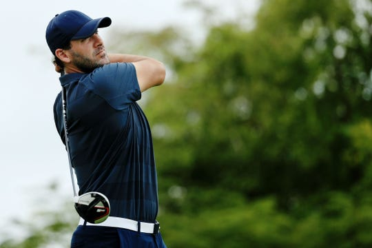 Tony Romo tees off on the 13th hole  during the second round in Punta Cana.