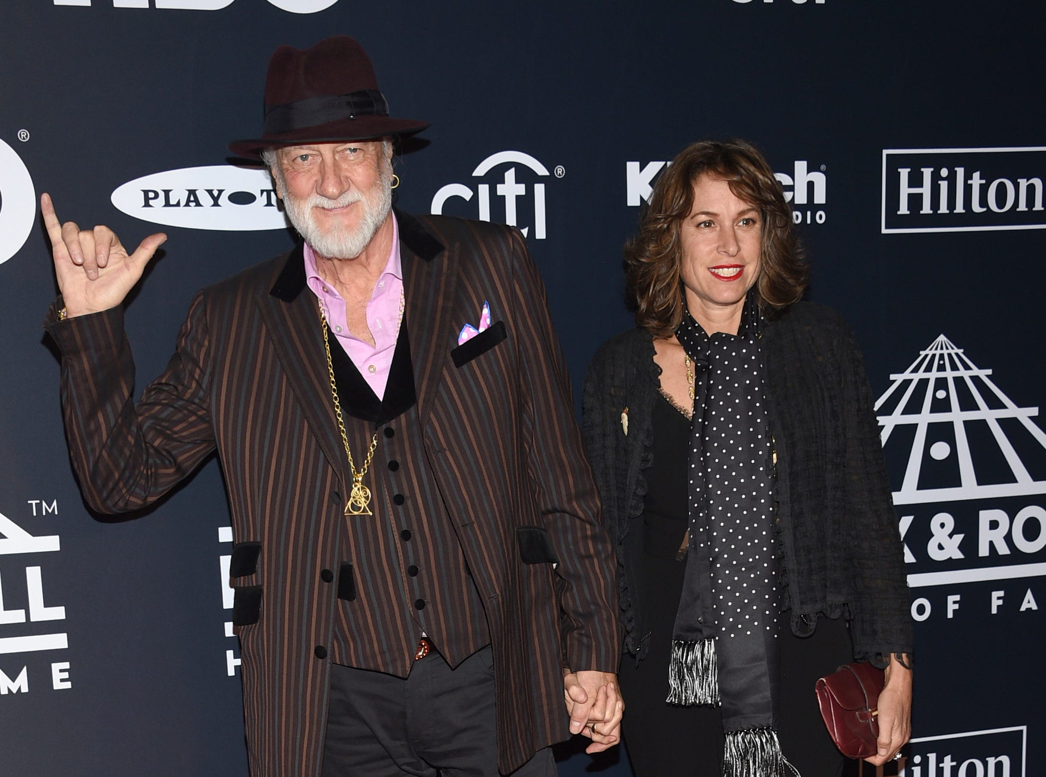 Mick Fleetwood, of Fleetwood Mac, and Chelsea Hill arrive at the Rock & Roll Hall of Fame induction ceremony at the Barclays Center on Friday, March 29, 2019, in New York. (Photo by Evan Agostini/Invision/AP) ORG XMIT: NYPM119