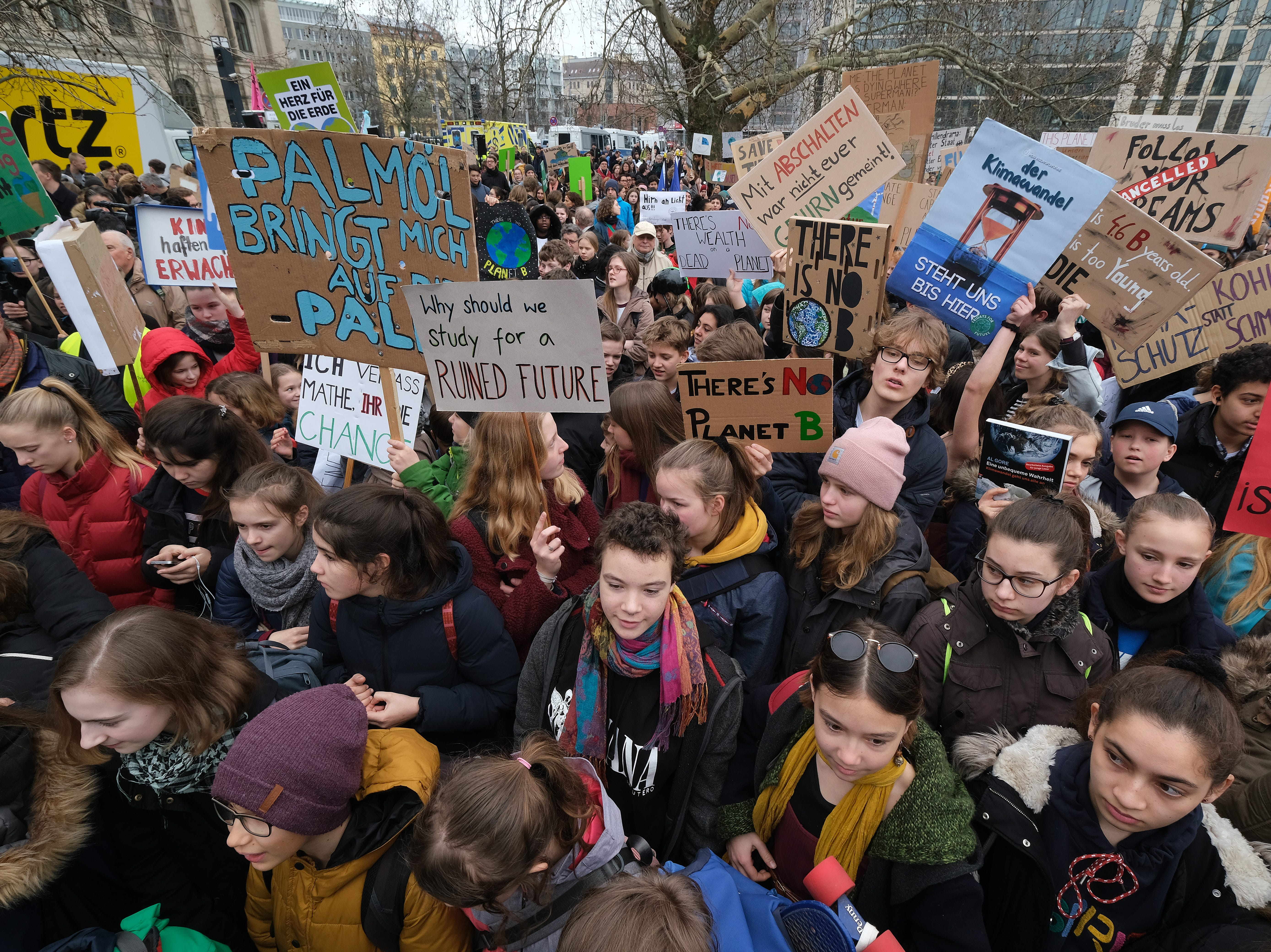 Striking students gather for a Fridays for Future protest march at Invalidenpark on March 29, 2019 in Berlin, Germany. Swedish climate activist Greta Thunberg took part in the ensuing march.