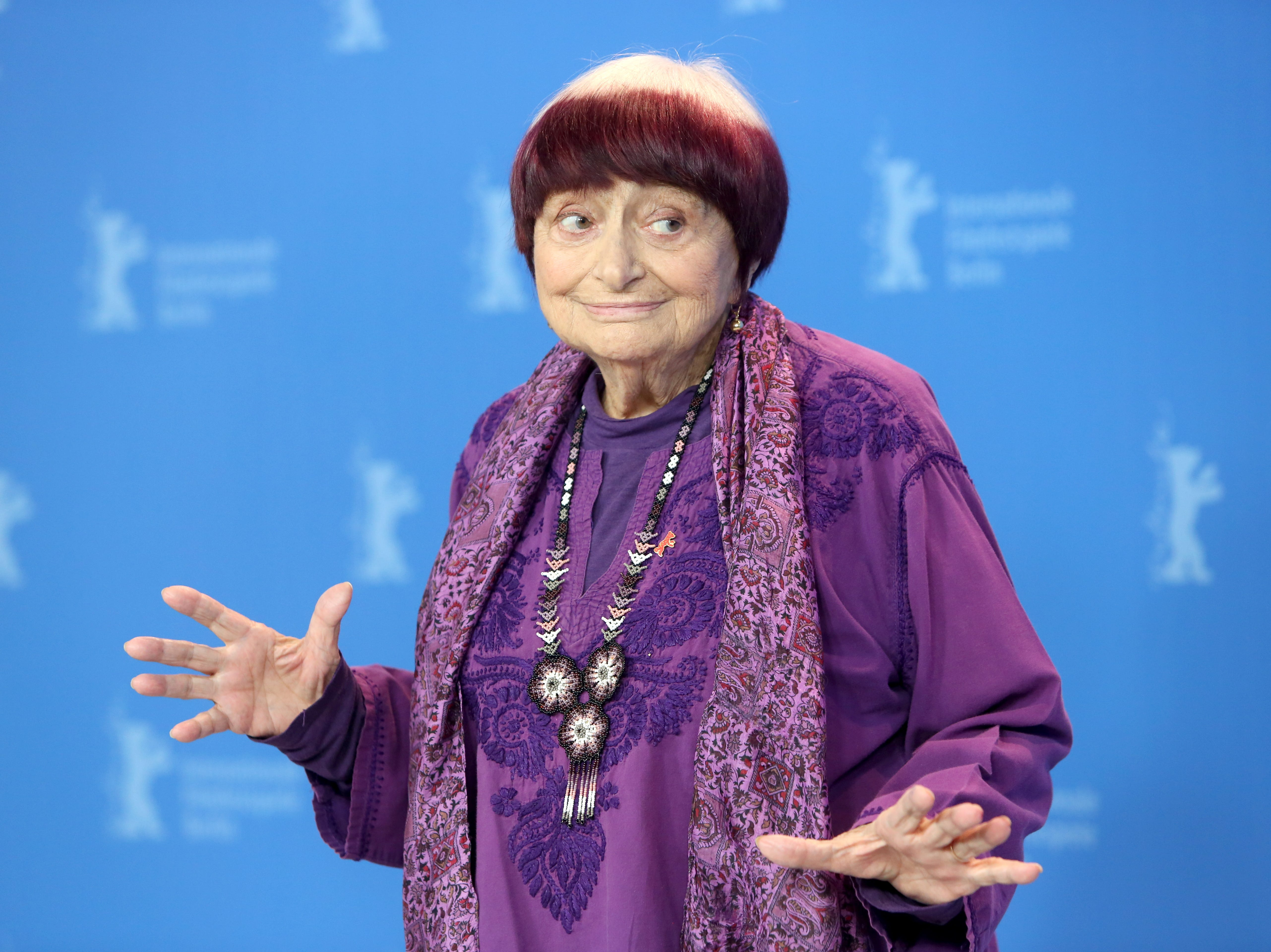French director Agnes Varda poses during the photocall of 'Varda by Agnes' (Varda par Agnes) during the 69th annual Berlin Film Festival, in Berlin, Germany on Feb. 13, 2019. Filmmaker Agnes Varda, a central figure of the French New Wave who later won the Golden Lion at the Venice Film Festival, has died. She was 90.