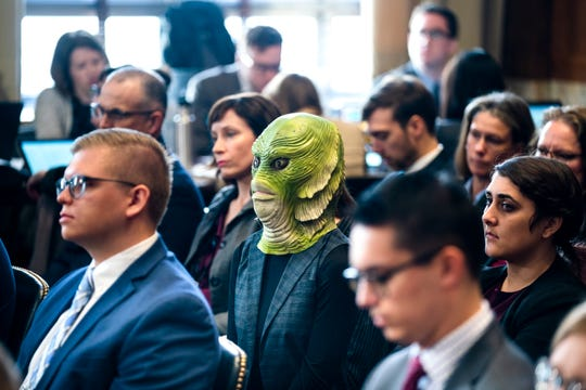 An activist wears a Creature From the Black Lagoon mask while watching David Bernhardt testify before a Senate Energy and Natural Resources Committee hearing on his nomination to head the Department of the Interior in the Dirksen Senate Office Building in Washington, DC, USA, 28 March 2019. Bernhardt, a one-time oil and mining lobbyist, has raised the ire of conservation groups that are opposed to his nomination.