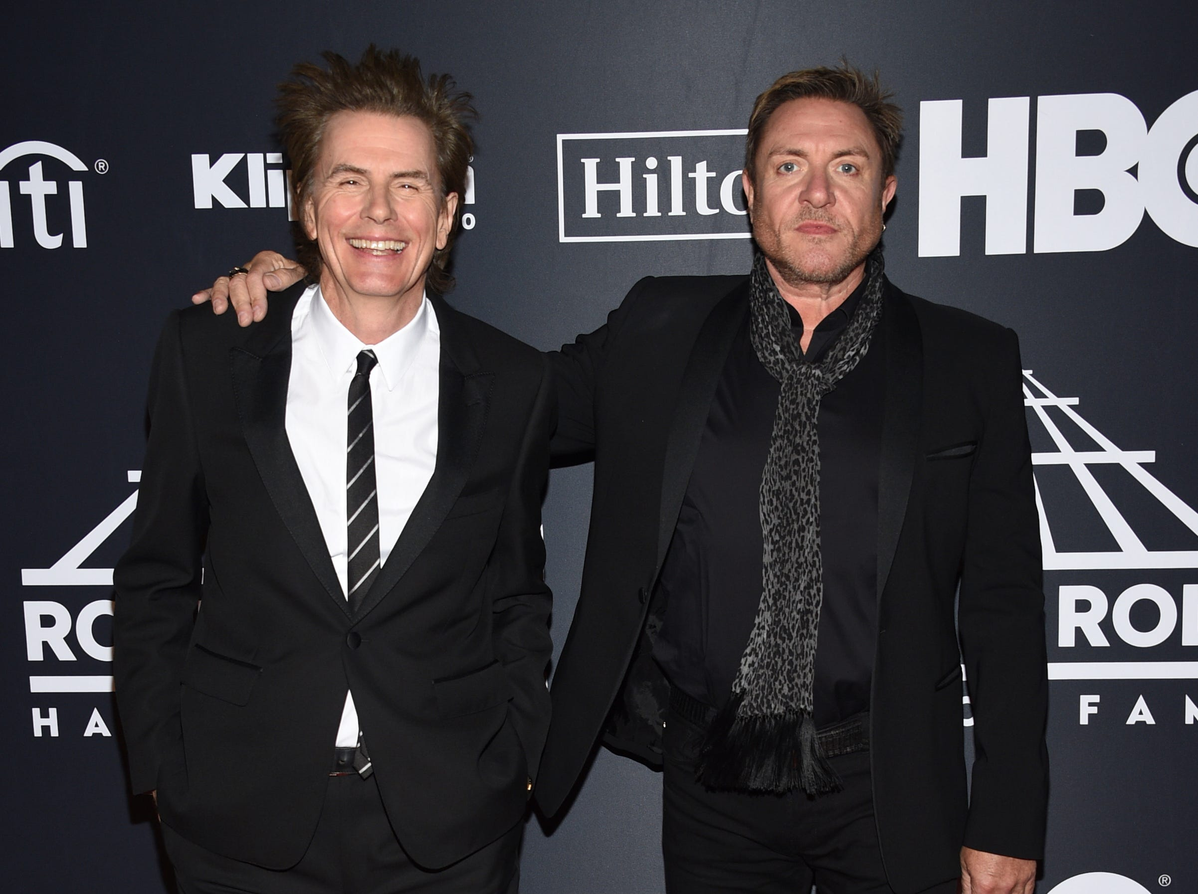 John Taylor, left, and Simon Le Bon, of Duran Duran, arrive at the Rock & Roll Hall of Fame induction ceremony at the Barclays Center on Friday, March 29, 2019, in New York. (Photo by Evan Agostini/Invision/AP) ORG XMIT: NYPM127