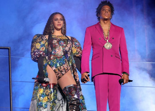 Beyonce and Jay Z shown here in December were honored Thursday night at the GLAAD Media Awards in Los Angeles.
