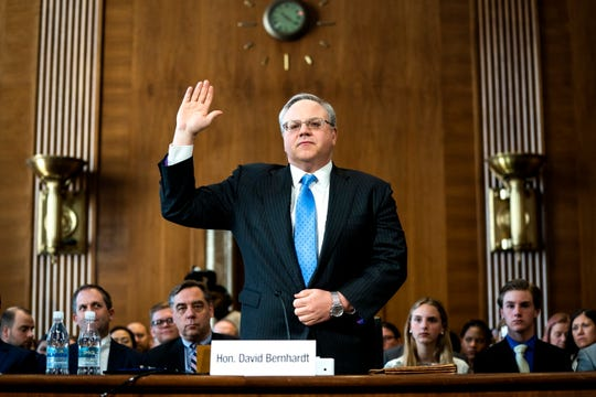 David Bernhardt is sworn-in during a Senate Energy and Natural Resources Committee hearing on his nomination to head the Department of the Interior in the Dirksen Senate Office Building in Washington, DC, USA, 28 March 2019. Bernhardt, a one-time oil and mining lobbyist, has raised the ire of conservation groups that are opposed to his nomination.