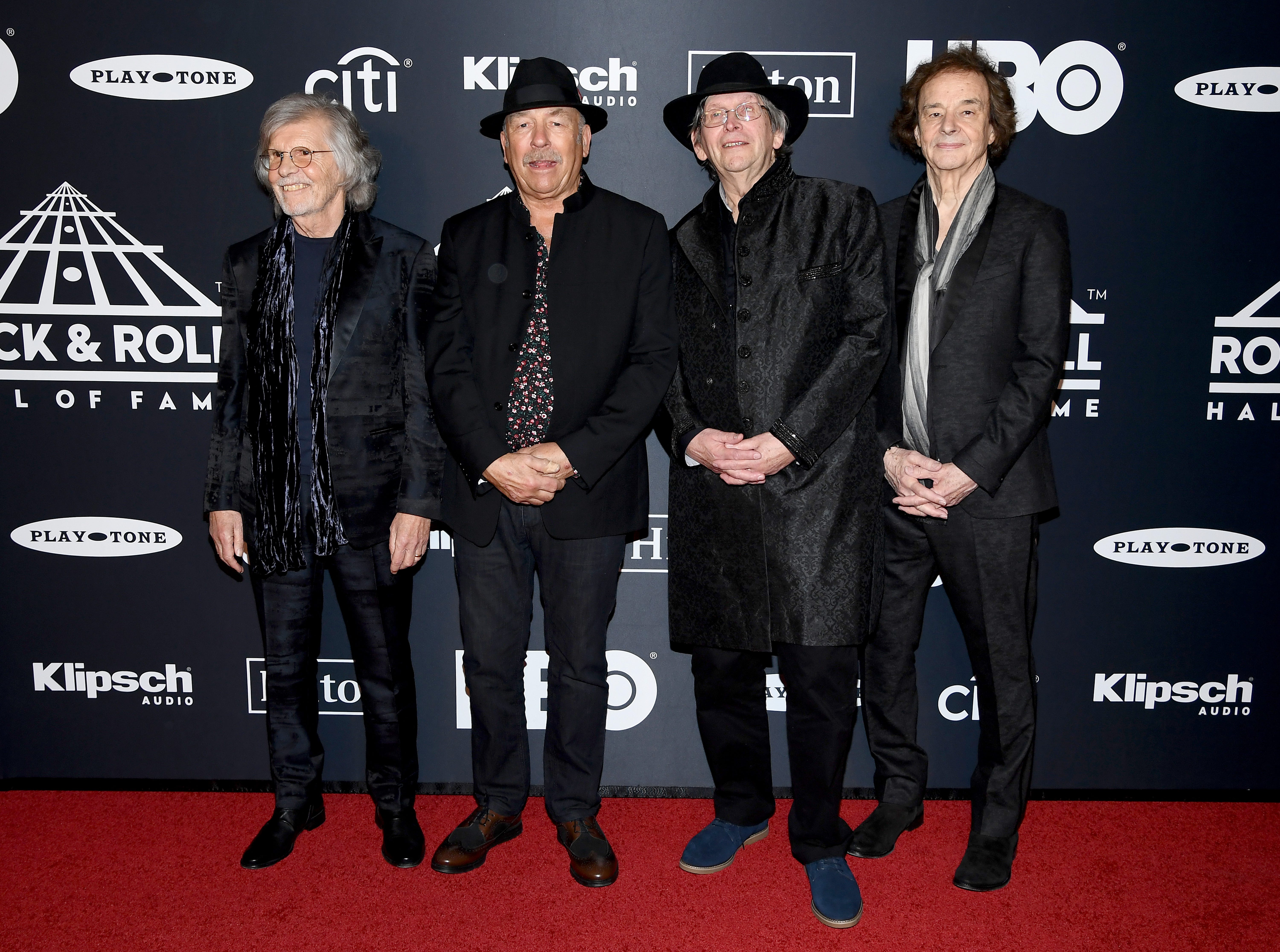 NEW YORK, NEW YORK - MARCH 29: Rod Argent, Hugh Grundy, Chris White, and Colin Blunstone of The Zombies attend the 2019 Rock & Roll Hall Of Fame Induction Ceremony at Barclays Center on March 29, 2019 in New York City. (Photo by Dimitrios Kambouris/Getty Images For The Rock and Roll Hall of Fame) ORG XMIT: 775320639 ORIG FILE ID: 1139160303