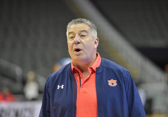 Auburn coach Bruce Pearl during practice on Thursday.