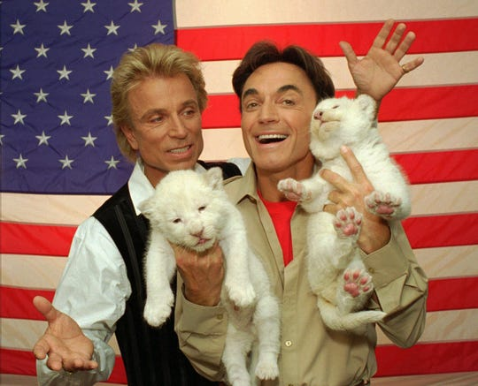 Illusionists Siegfried, left, and Roy, pose with two rare, 18-day-old white lion cubs May 2, 1996, in Las Vegas.
