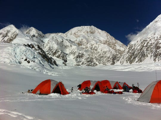 Tents of climbers on Denali, the tallest peak in North America, in Alaska.