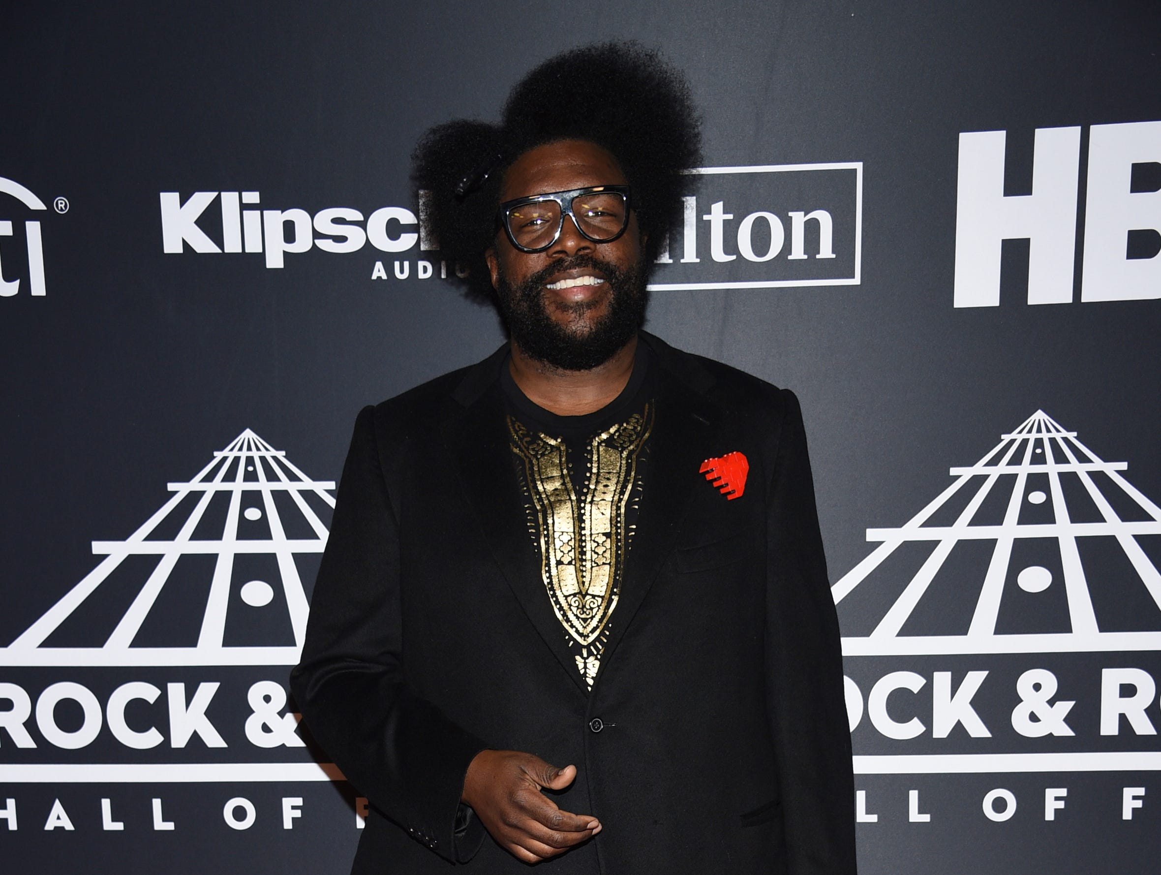 Questlove arrives at the Rock & Roll Hall of Fame induction ceremony at the Barclays Center on Friday, March 29, 2019, in New York. (Photo by Evan Agostini/Invision/AP) ORG XMIT: NYPM125
