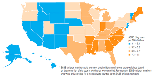 There's a nearly three-fold difference between the states with the highest and lowest rates of ADHD.