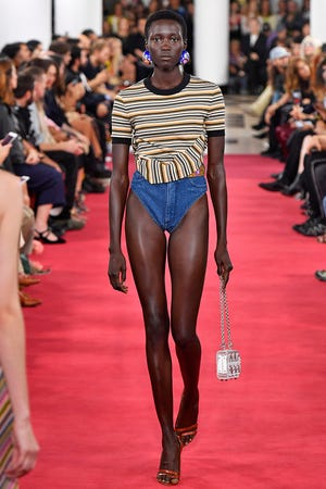 A model showed off Y/Project denim underwear during Paris Fashion Week on September 27, 2018.