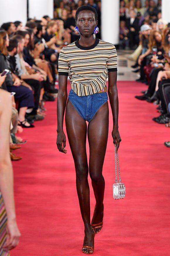 dde4752b3c A model showed off Y Project denim underwear during Paris Fashion Week on  September 27