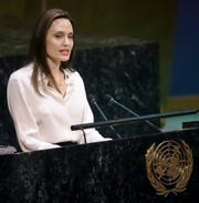 Angelina Jolie, United Nations High Commissioner for Refugees special?envoy, address a meeting on U.N. peacekeeping at U.N. headquarters, Friday March 29, 2019. (AP Photo/Bebeto Matthews) ORG XMIT: XUNB205