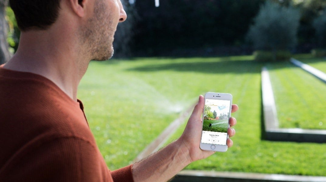 Caption: Save time, money and water with a smart sprinkler.