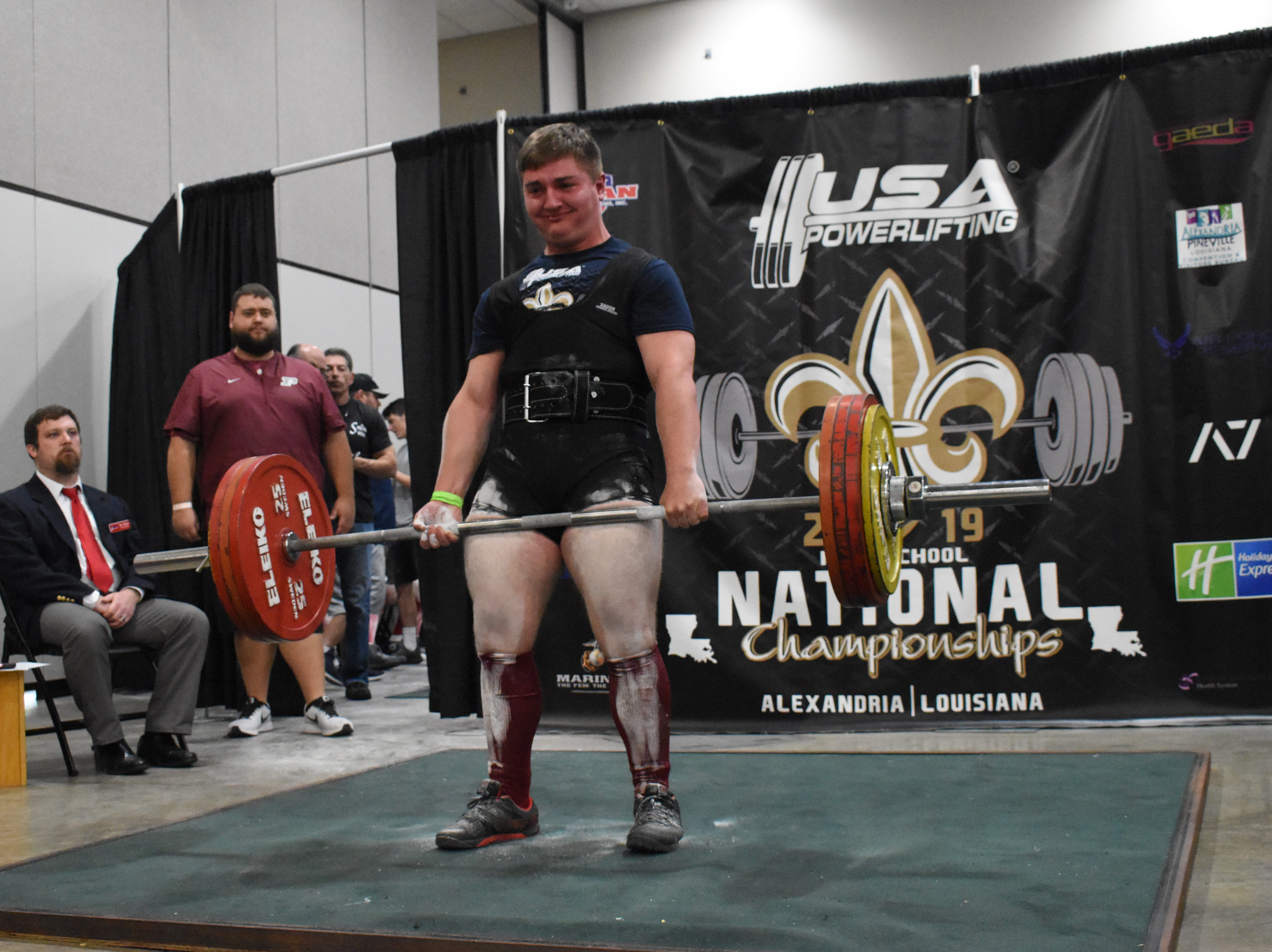 Tyreana Hughes of Pineville High School performs a deadlift in the The USA Powerlifting High School National Championships, equipped and raw, are being held at the Randolph Riverfront Center in downtown Alexandria with high school powerlifters from across the country competing in the four-day event. Powerlifters from local schools are also competing.