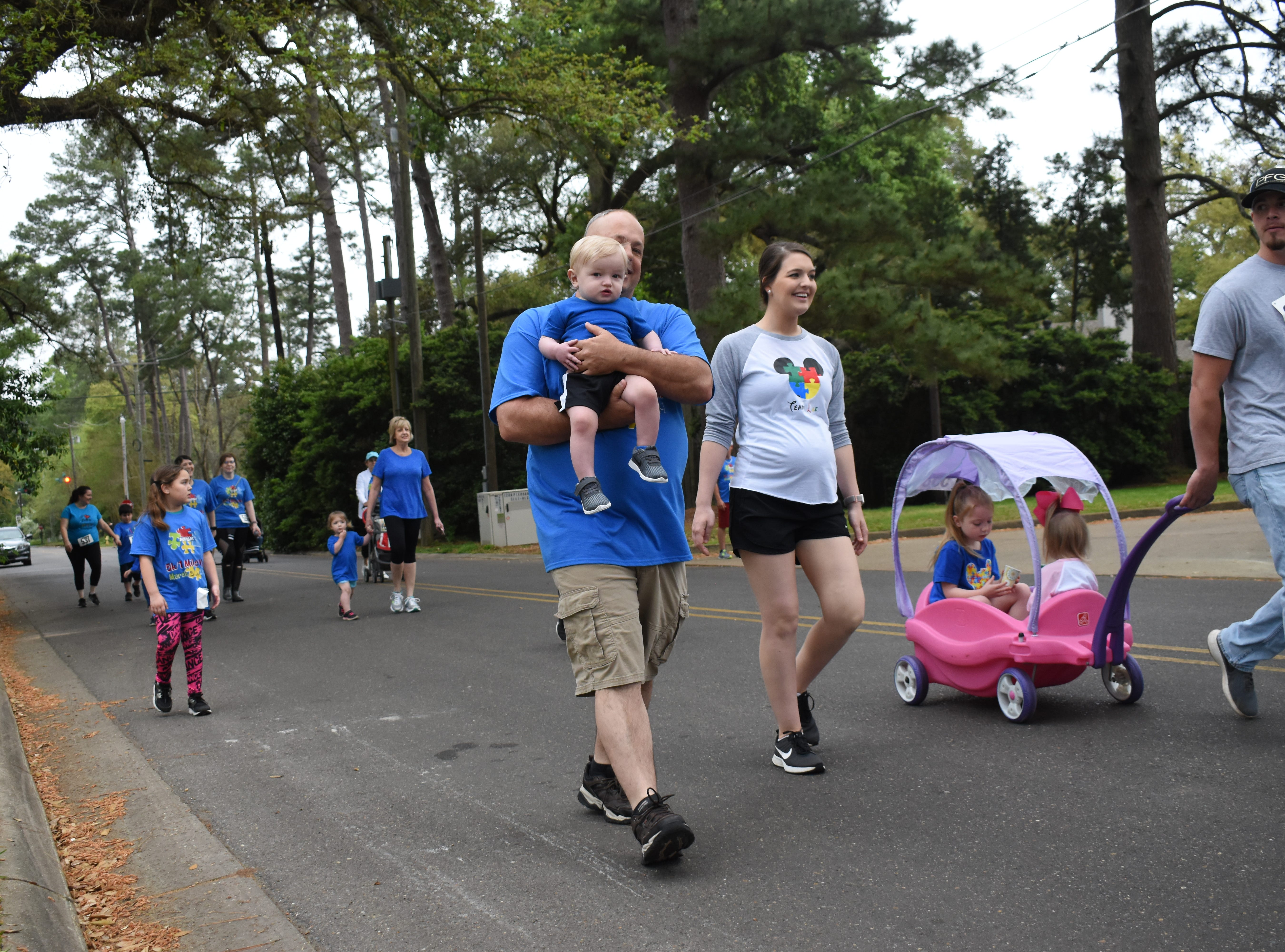 The Cenla Autism Awareness annual 5k and 1-mile walk was held Saturday, March 30, 2019 in Alexandria's Garden District. About 75 people participated in the event that started in the parking lot near First United Methodist Church Alexandria. All proceeds  towards Buddy Camp Ministries which works with autistic children.