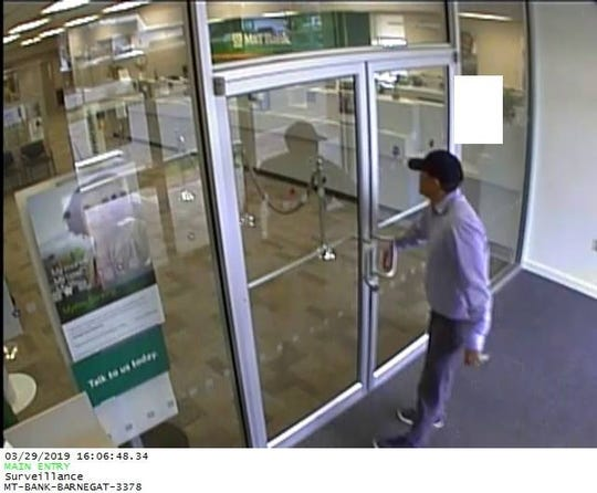 Barengat police are looking for this man who robbed the M&T Bank in the plaza at 580 N. Main Street at 4 p.m. Friday, March 29, 2018.