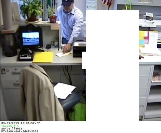 Barengat police are looking for this man who robbed the M&T Bank in  the plaza at 580 N. Main Street at 4 p.m. Friday, March 29, 2019.