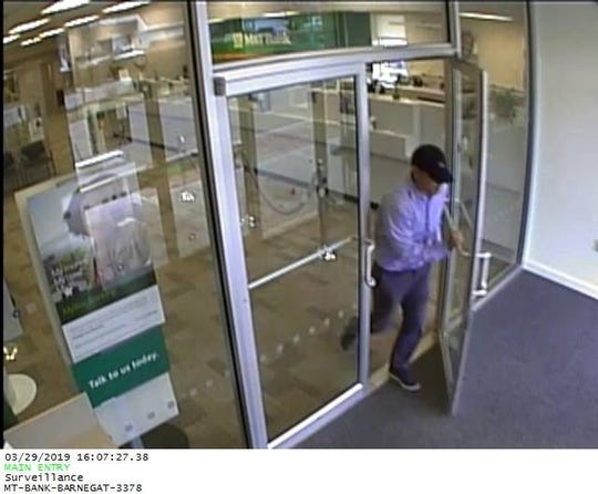 Barnegat police are looking for this man who robbed the M&T Bank in the plaza at 580 N. Main Street at 4 p.m. Friday, March 29, 2019