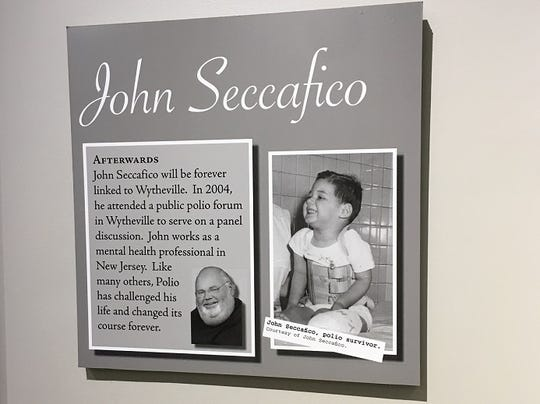 A tribute to John Seccafico in the polio exhibit at the Thomas J. Boyd Museum in Wytheville, Va.