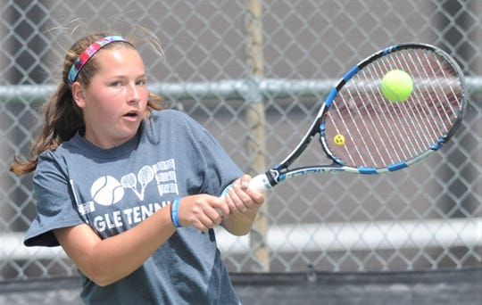 Abilene High's Lauren Schaeffer, pictured, and girls doubles partner Rachel Tebow are coming off a District 3-6A title heading into the region tournament. The Eagles won three district championships and are in four draws at the Region I-6A tournament in Arlington starting Wednesday.