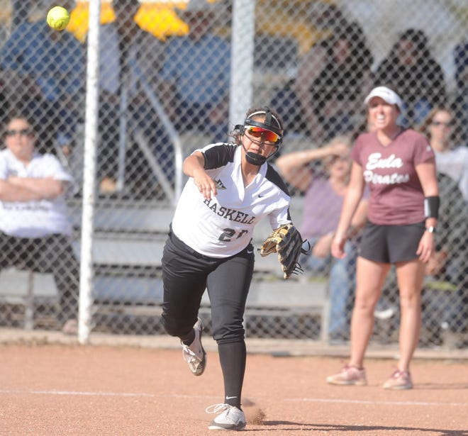 Haskell third baseman Ryanna Rodriguez makes a throw to first base in a District 7-2A softball game against Eula on Friday, March 29, 2019, at Eula High School.