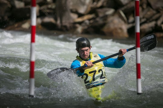 Tad Dennis competes in the NRC Whitewater U.S. Open on the Nantahala River on Saturday March 30, 2019, during the first round of the Slalom and Downriver races. The weekend-long competition was held at Nantahala Falls, just upriver from the Nantahala Outdoor Center near Bryson City.  -Colby Rabon (colbyrabon@gmail.com)