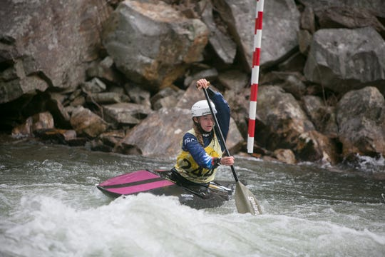 Evy Leibfarth, 15, competes in the NRC Whitewater U.S. Open on the Nantahala River on March 30, 2019, during the first round of the Slalom and Downriver races AT the Nantahala Outdoor Center near Bryson City. Leibfarth won the women's canoe and kayak divisions.